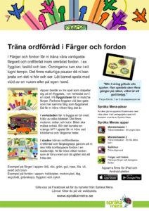 Produktblad appen Färger och fordon